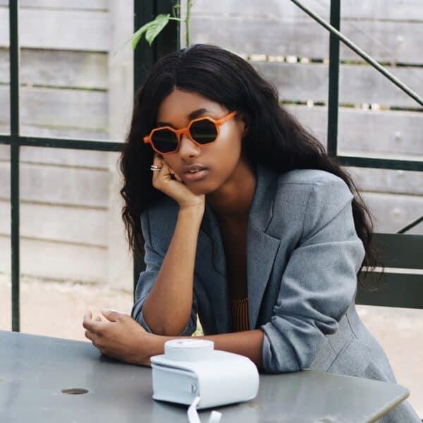 orange hexagonal sunglasses - buy online - iamtrend
