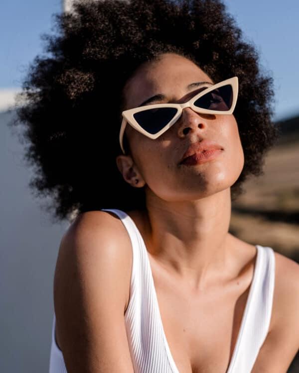 Triangle Cream Sunglasses