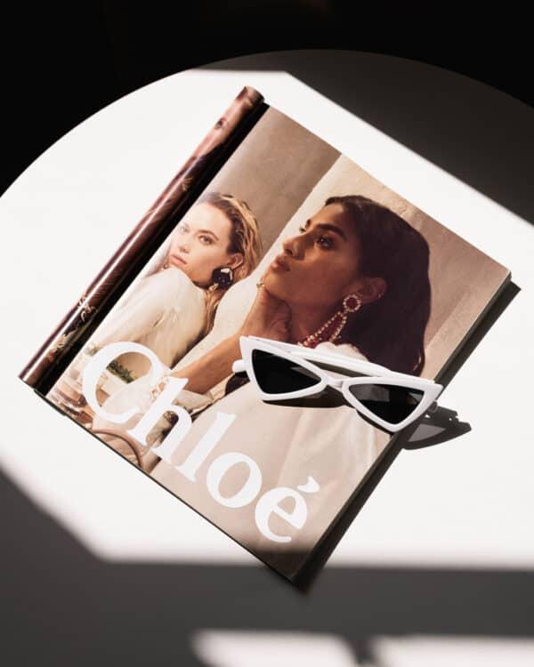 triangle white sunglasses