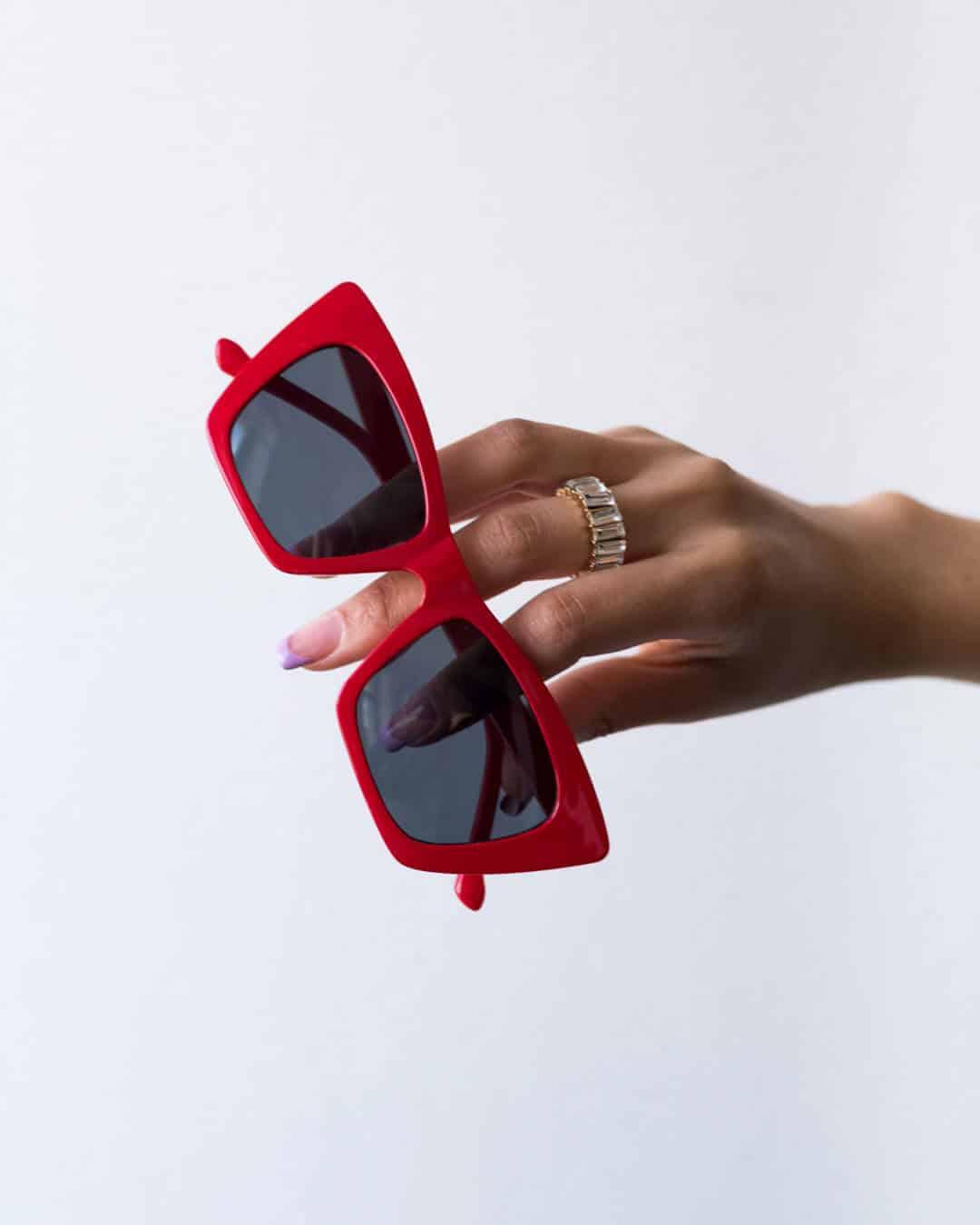 Red angular sunglasses