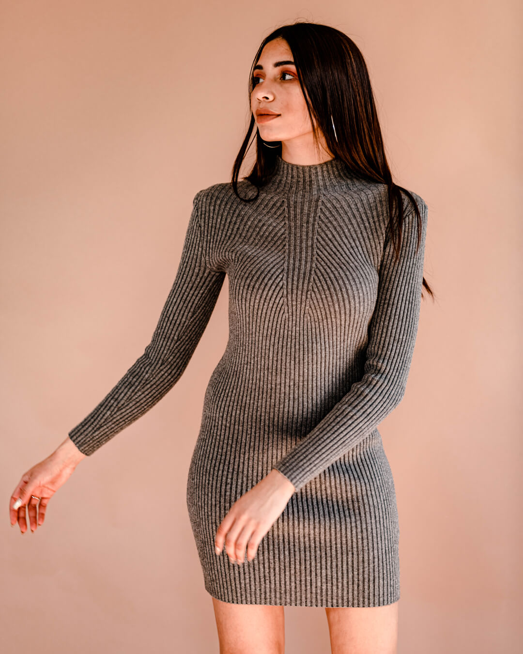 Fitted-High-Neck-Dress---Grey