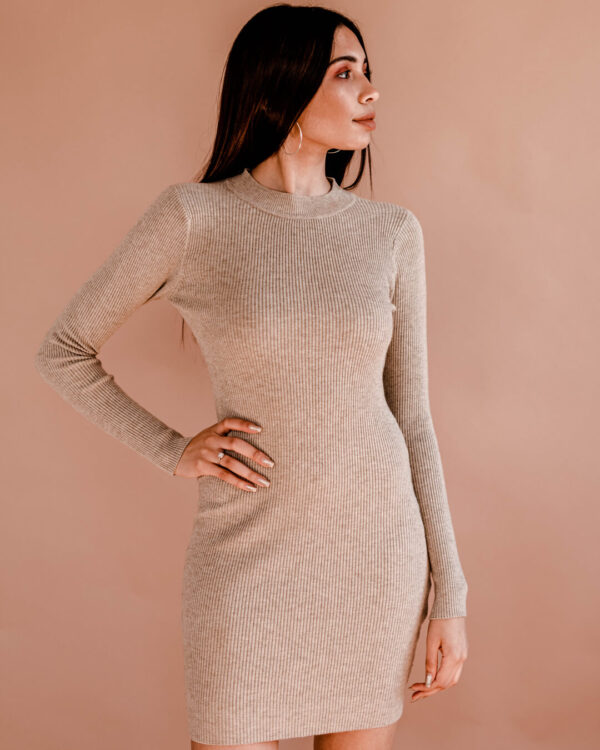 Round-Neck-Fitted-Knit-Dress---Oatmeal