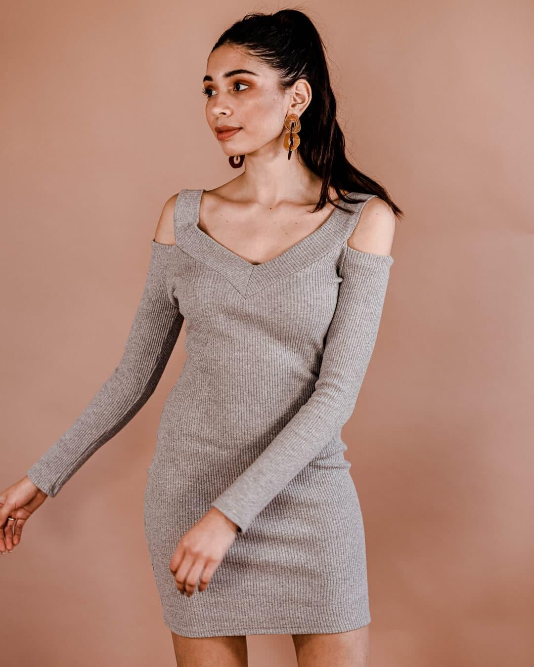 Cutout-Knit-Dress---Grey-II