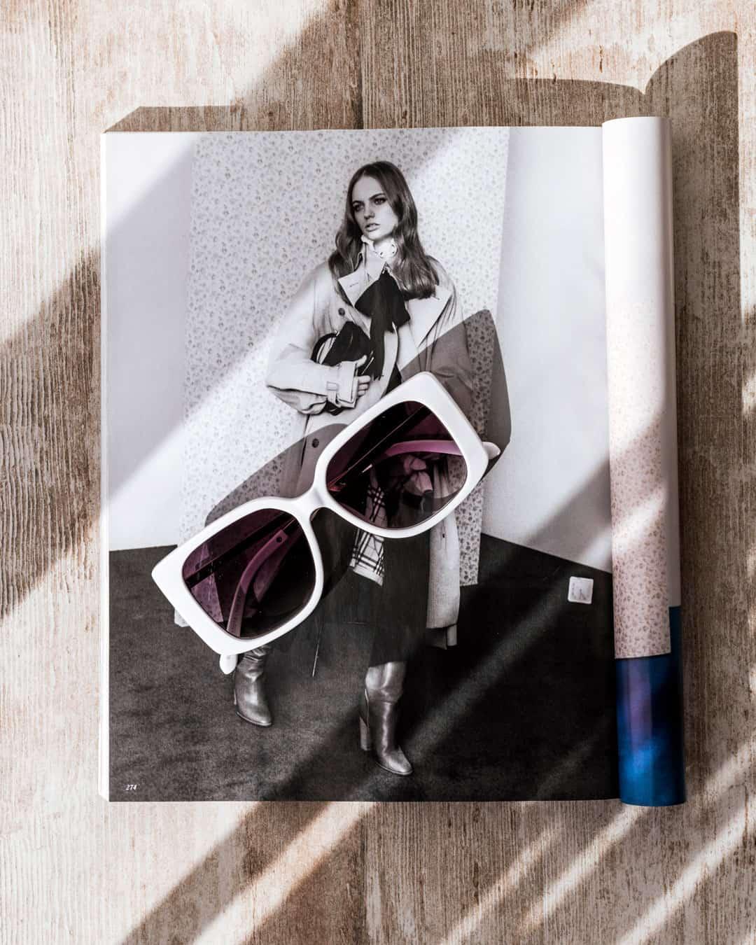 White fashion sunglasses
