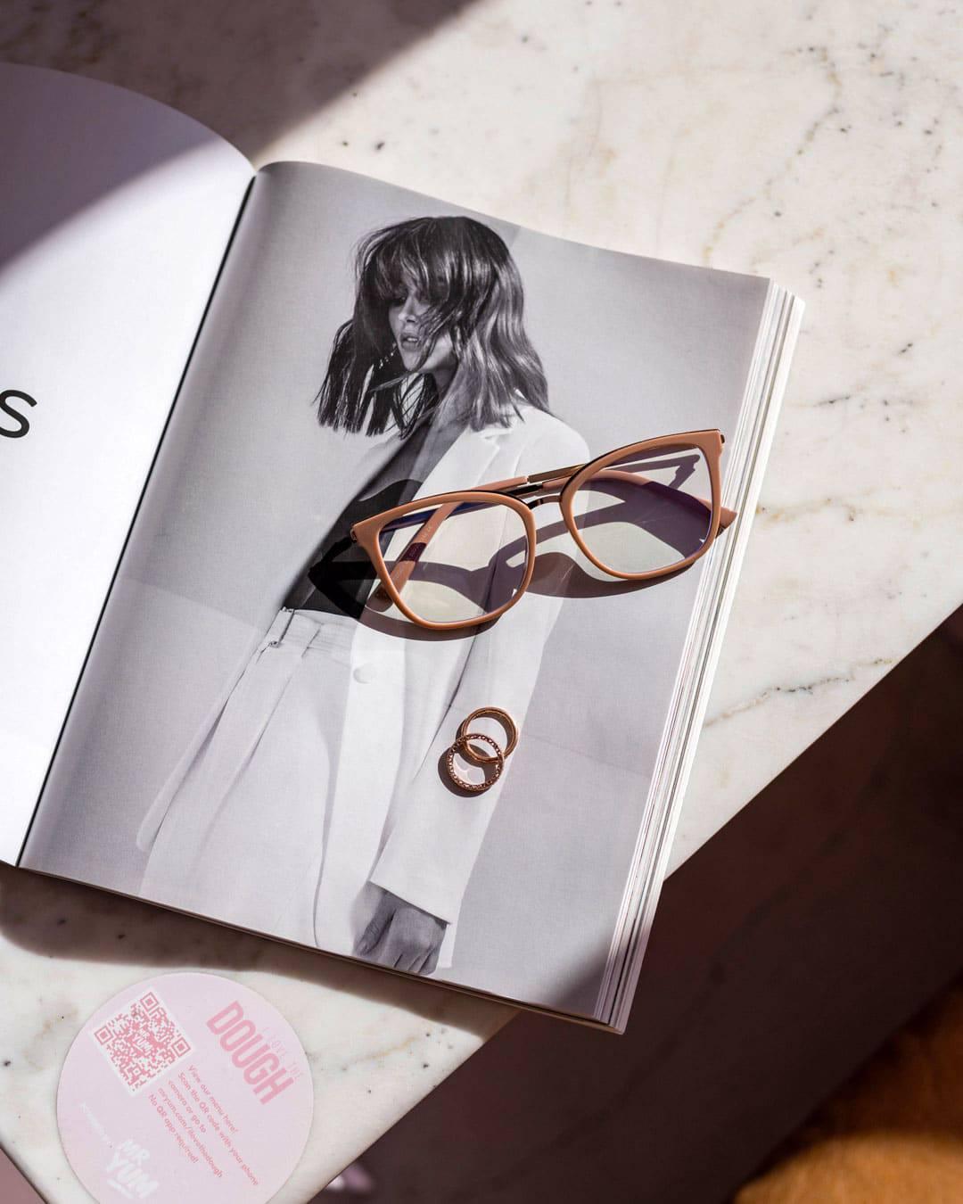 pink anti-blue light glasses