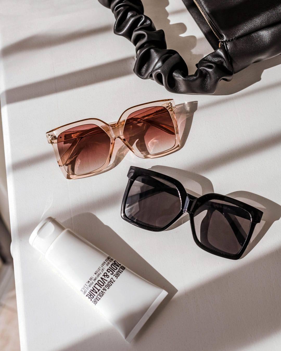 Oversized black square shades