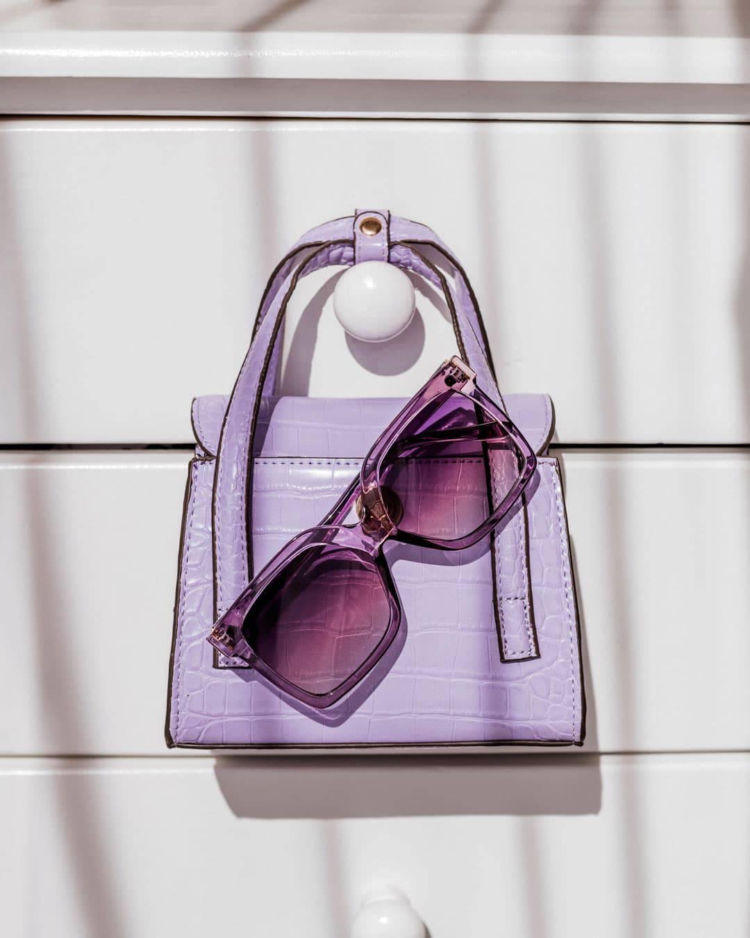 Purple oversized sunglasses