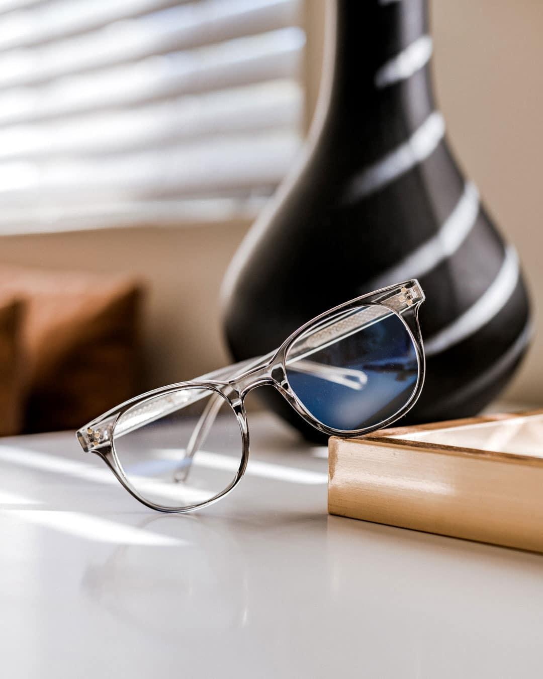 grey blue light blocking glasses