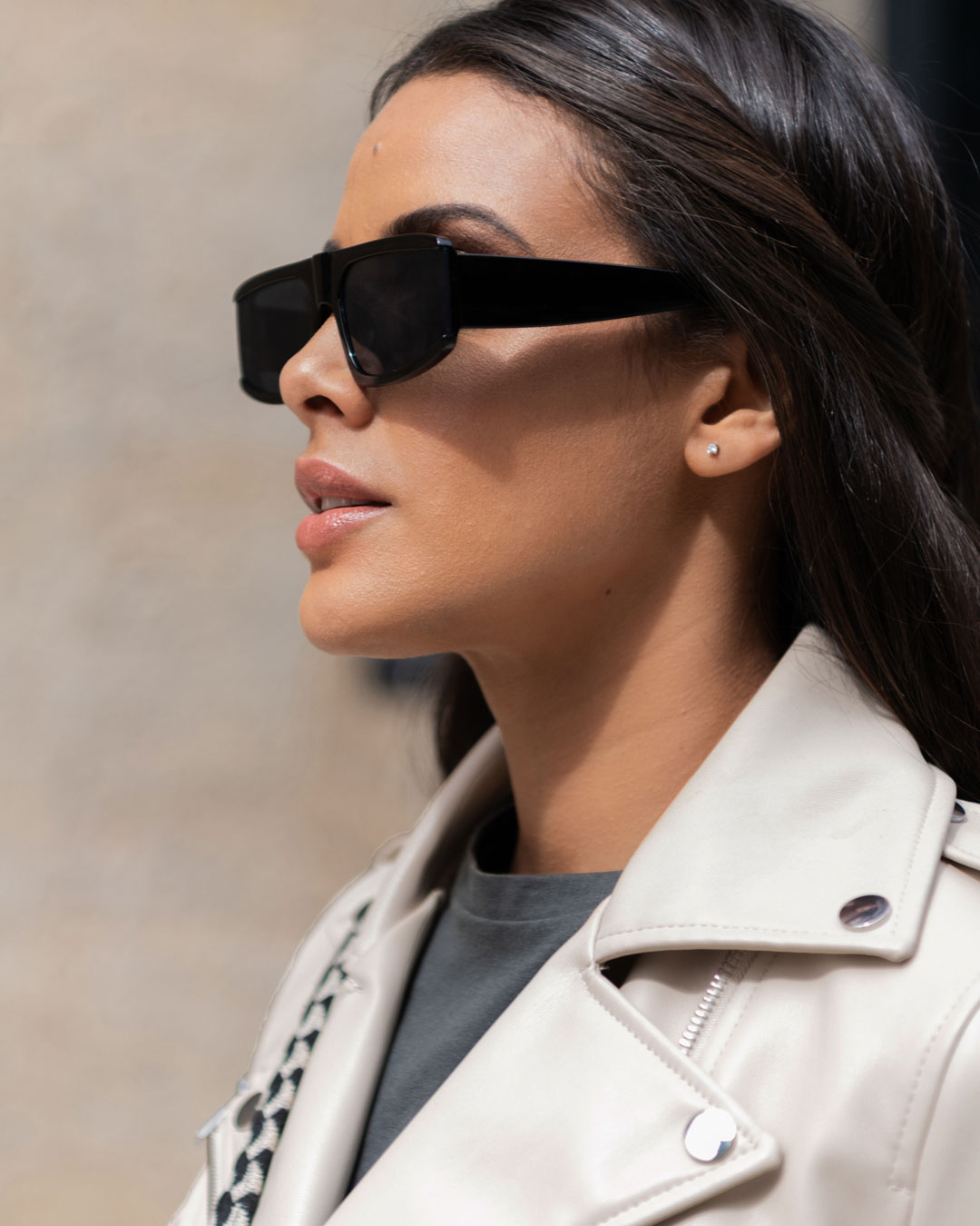 rectangle black sunglasses on a woman