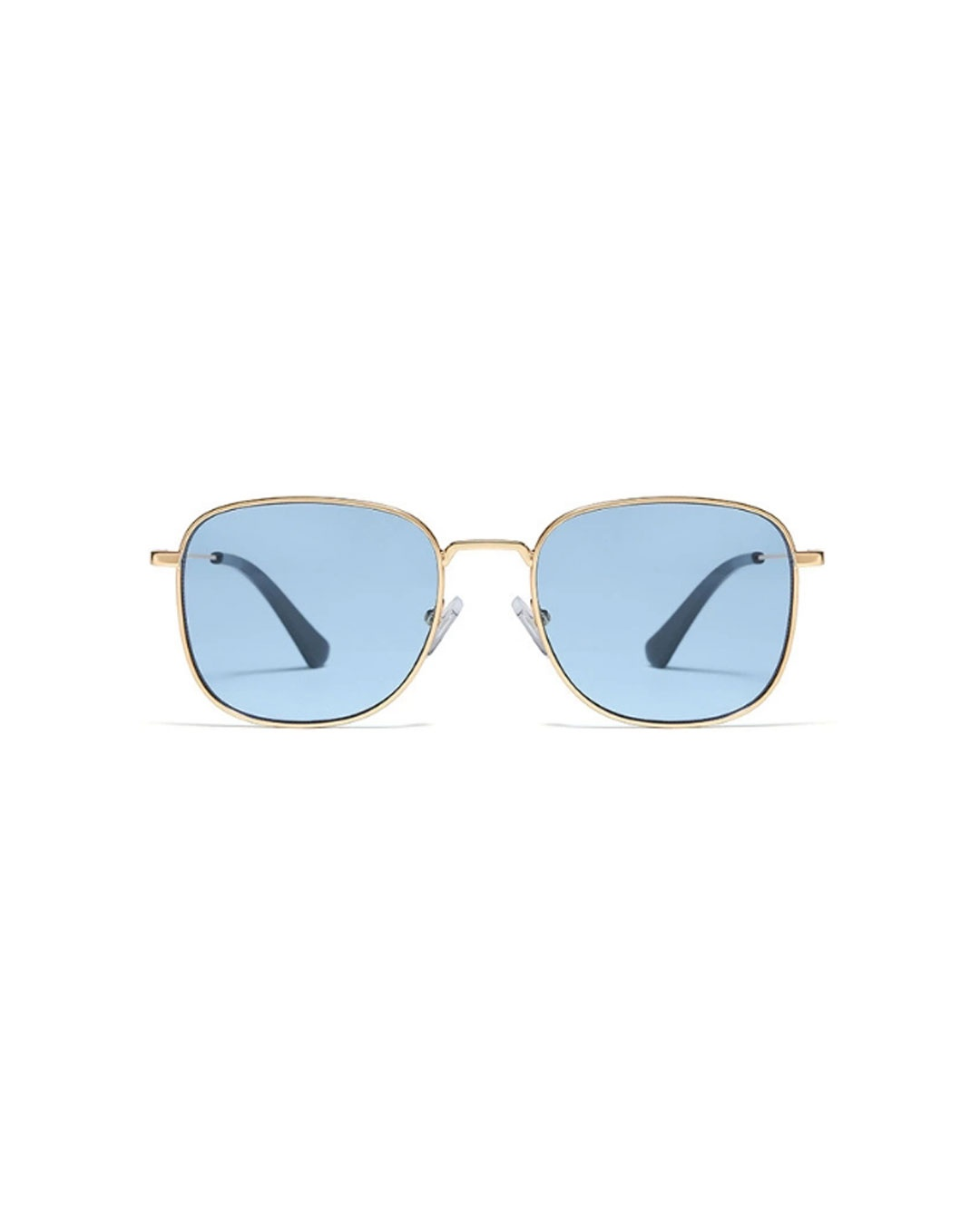 Sunglass style with a blue lens tint, gold metal detailing, and a square-shaped frame.