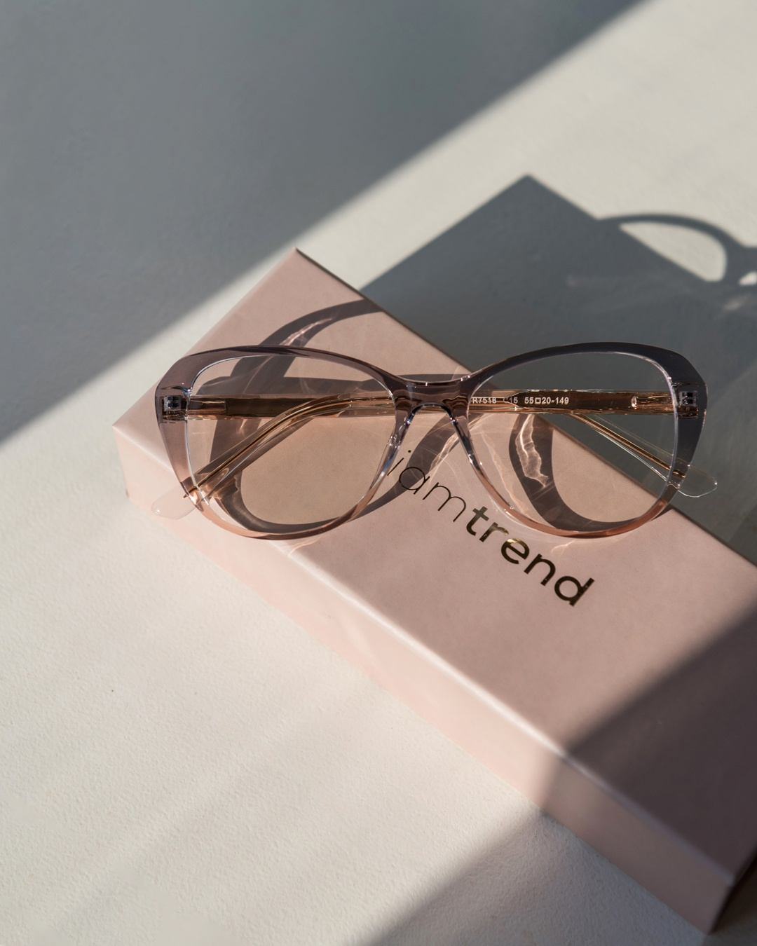 Butterfly frame glasses with a two-toned blue & pink silhouette rest on a pink iamtrend case.